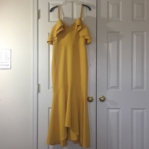 ASOS Fit and Flare canary yellow dress